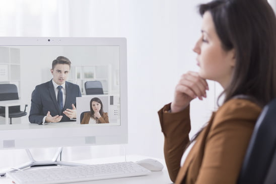 Business people in video conference