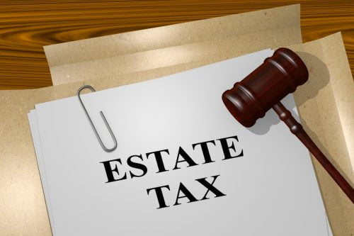 Estate Tax papers with gavel