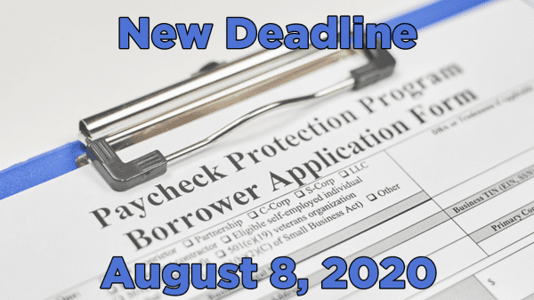 ppp application with new deadline text August 8, 2020
