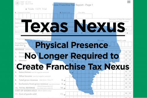 Texas outline with Texas Nexus text over state outline
